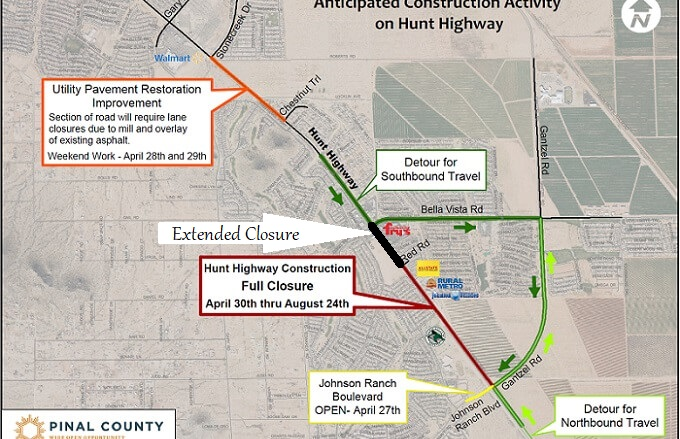 Hunt Hwy Closure Extended to Bella Vista Rd